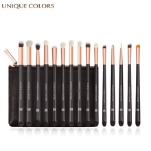15Pcs Makeup Brushes Set Powder Eyebrow Eyeliner Eyeshadow Make Up Cosmetics Soft Synthetic Hair With PU Leather Case