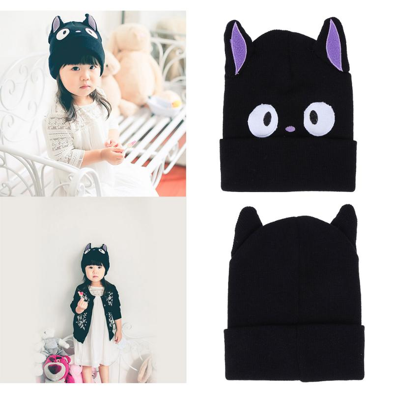 49d1285f650 Cartoon Cat Ears with Eyes Baby Beanies Cap Black Knitted Hat Kids ...