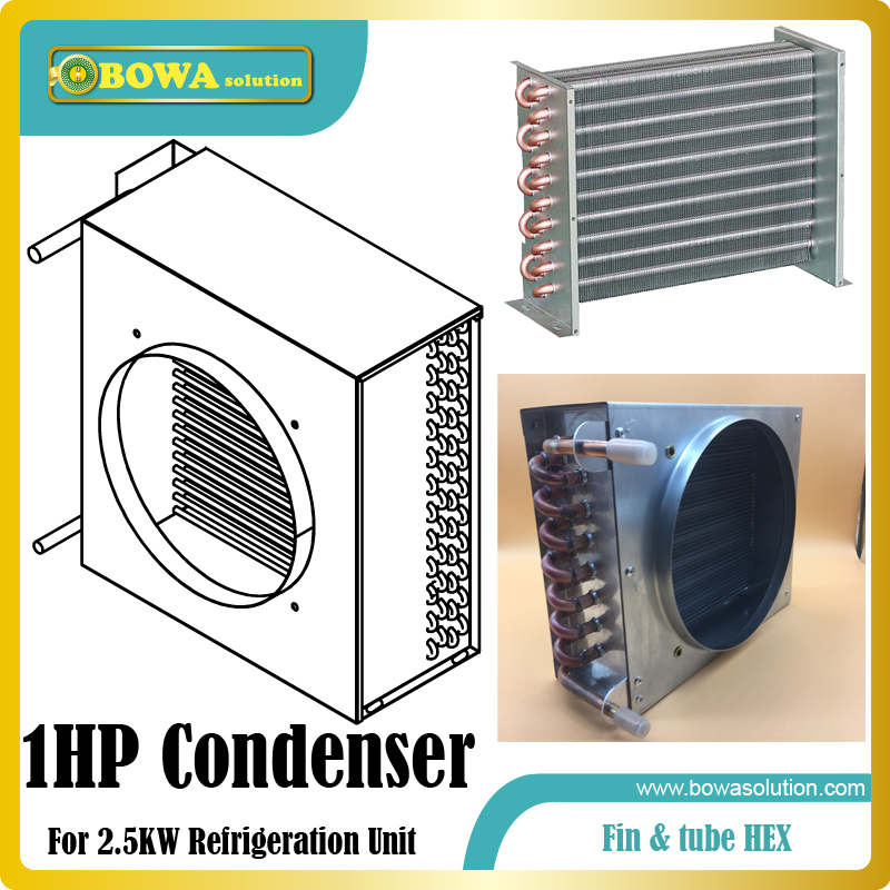 1HP fin & tube heat exchanger suitable for air cooled ice-cream maker, flake ice maker and block ice maker machines 15hp water cooled condenser for ice maker machines