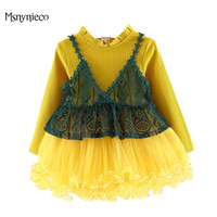Infant Baby Girls Dress 2018 Brand Summer Princess Girl Clothes Lace Long Sleeve Party Dresses Toddler