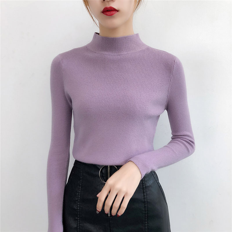 5 Solid Color Long Sleeve Turtleneck Sweater Autumn Winter Slim Black Basic Sweaters Woman All-match S-XL Purple Knit Pullover