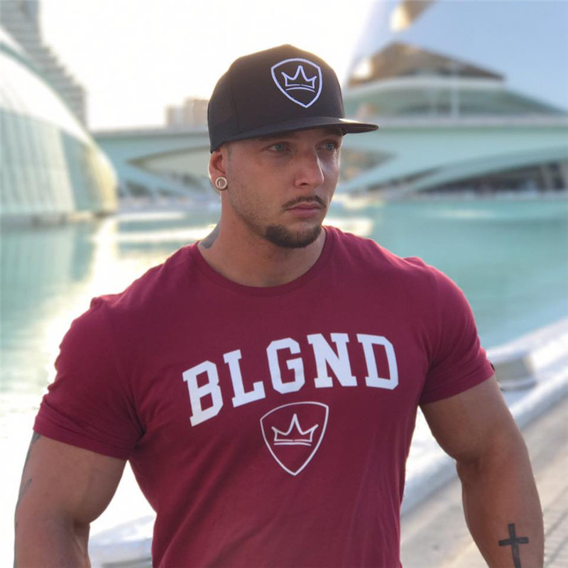 HTB1NjzHp21TBuNjy0Fjq6yjyXXaJ 2019 new gym breathable men's muscle fitness short sleeve training bodybuilding fitness cotton sportswear T shirt clothes