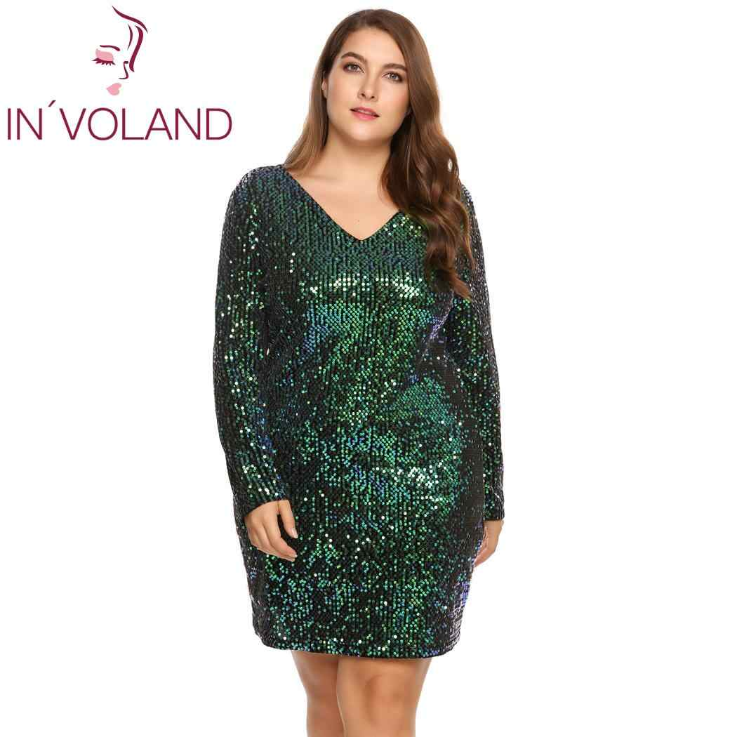 ... IN VOLAND Women s Dress Plus Size Sexy Deep V-Neck Long Sleeve Sequined  Bodycon ... ead1494ce28e