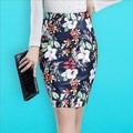 Moda Vendaje de Las Mujeres Faldas de Las Señoras de LA PU Faldas de Cuero Corto Bodycon Partido Atractivo de Las Mujeres de LA PU Clubwear Midi Rodilla Falda Roja flor