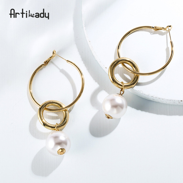 Artilady Simulated Pearl Hanging Hoop Earrings Double Circle Special Jewelry For Women As Gift Dropshipping