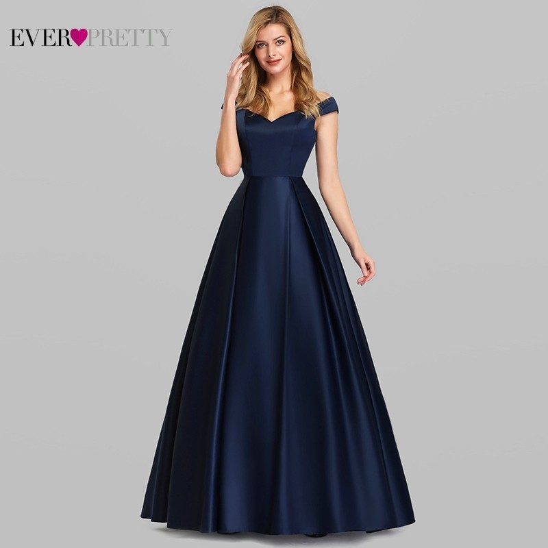 Navy Blue Satin Evening Dresses Ever Pretty EP07934NB A-Line V-Neck Elegant Formal Long Dresses Vestidos De Fiesta De Noche 2019