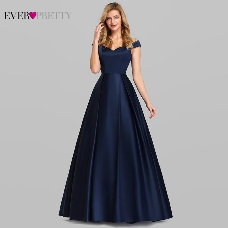 Navy Blue Satin Evening Dresses Ever Pretty EP07934NB A-Line V-Neck Elegant Formal Long Dresses Vestidos De Fiesta De Noche 2020