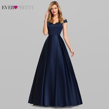 Evening-Dresses Satin Ever Pretty Vestidos-De-Fiesta-De-Noche Navy-Blue Formal Elegant