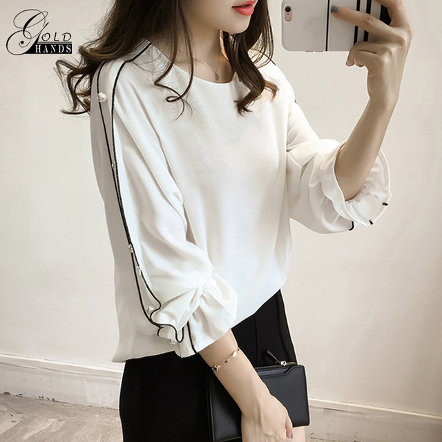 67b102dbc Gold Hands Women Long Lantern Sleeve Sweat Blouse With Pearl Beaded Chiffon  Korean Style Shirt Female Solid Plus Size Casual Top