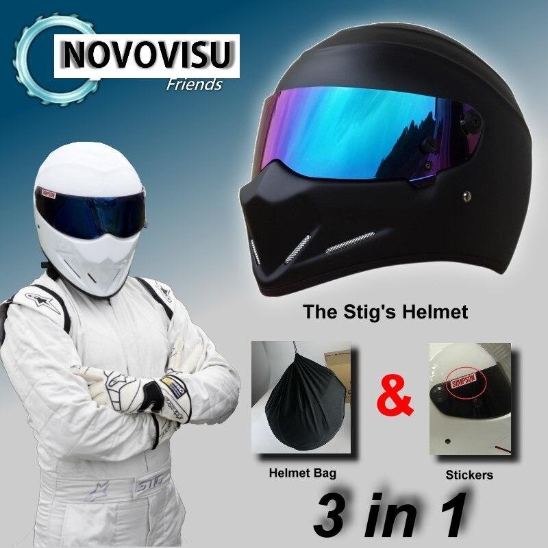купить Colorful Visor The STIG Matte Black Helmet / Bag+ SIMPSON Sticker For Gifts / For NOVOVISU Friends Racing Capacete Casco De по цене 5098.67 рублей