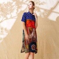 100% шелковое платье для женщин печатных Кнопка украшения Воротник с короткими рукавами прямое класс ткань новые летние модные 2018