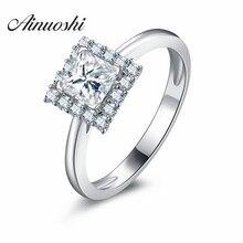 2016 Luxury Princess Cut Halo Ring 925 Sterling Silver Prong Set Princess Cut SONA Engagement Band Ring Wedding Fashion Jewelry