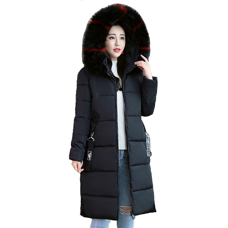 Plus size M-6XL Winter parkas women Cotton-padded jacket Large fur collar Hooded tops Thicken warm female Super large size coats