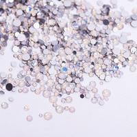 1pack Mix Sizes Glass White Opal Crystal Non Hotfix Flatback Rhinestones Nail Rhinestoens For Nails 3D