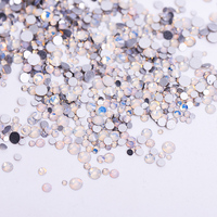 1pack Mix Sizes Glass White Opal Crystal Non Hotfix Flatback Rhinestones Nail Rhinestoens For Nails 3D