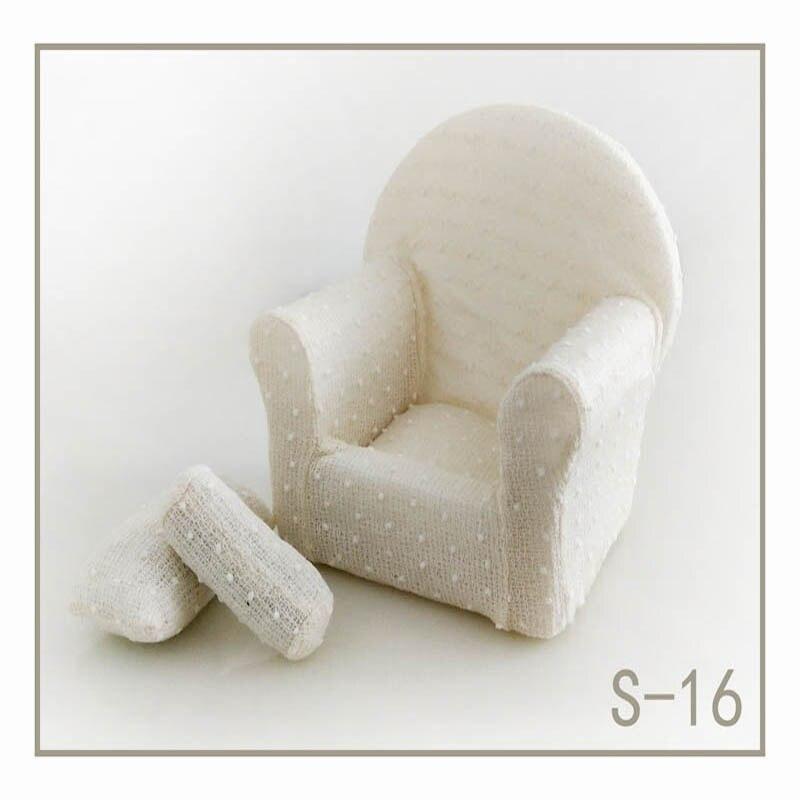 Реквизит для фотосъемки новорожденных, позирующий мини-диван, кресло на руку и 2 подушки, реквизит для фотосессии, студийные аксессуары для детей 0-3 месяцев - Цвет: 1