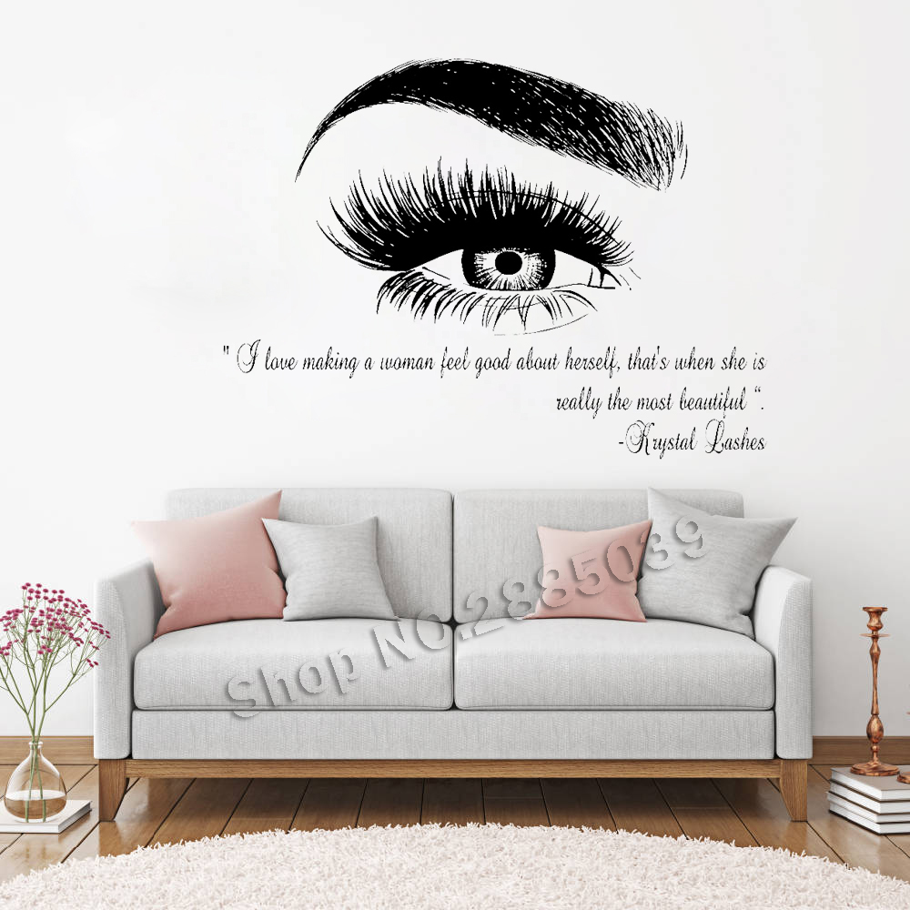 Beauty Salon Quote Wall Decal Stickers Eye Eyelashes Lashes Eyebrow Brows Vinyl Decals Livingroom Art Decor Sticker Muraux LC357