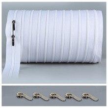 5 метров объемная молния#3 белая стеганая молния нейлоновая катушка застежки-молнии для шитья двойные ползунки закрытый конец DIY шитье ремесло