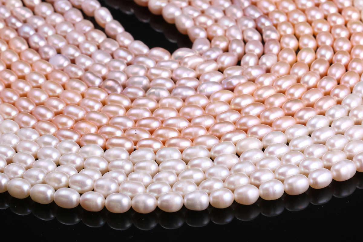 Nước Ngọt Tự Nhiên Nuôi Cấy Ngọc Trai Hạt Cơm Hình 100% Ngọc Trai Tự Nhiên Cho Trang Sức Làm Tự Sợi 13 Inch
