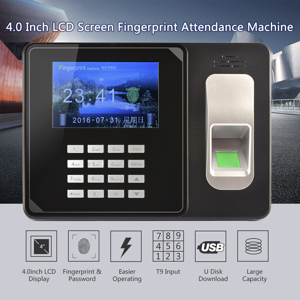 Intelligent Biometric Fingerprint Password Attendance Machine Employee Checking-in Recorder TCP/IP 4.0 inch TFT LCD Screen a c081 tcp ip biometric fingerprint time clock recorder attendance employee electronic time recording device