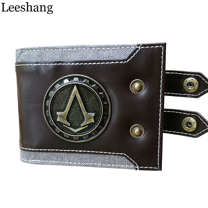 Leeshang Men's purse Assassins Creed wallet Men Wallet Small Vintage Wallet Brand High Quality Designer Short Purse DFT-1479 italian style fashion men s jeans shorts high quality vintage retro designer classical short ripped jeans brand denim shorts men