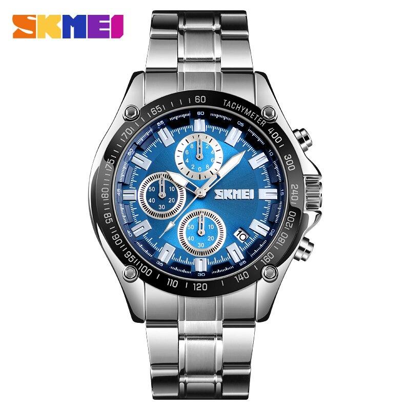 Azul del reloj SKMEI marca hombres reloj cronógrafo fecha deporte reloj de cuarzo de acero inoxidable de impermeable para hombre relojes reloj Masculino