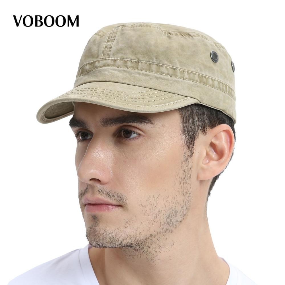 Voboom лето-осень Военная Униформа Кепки Для мужчин Для женщин промывают хлопок с плоским верхом армии шляпа с вентиляционным отверстием Регулируемый 162