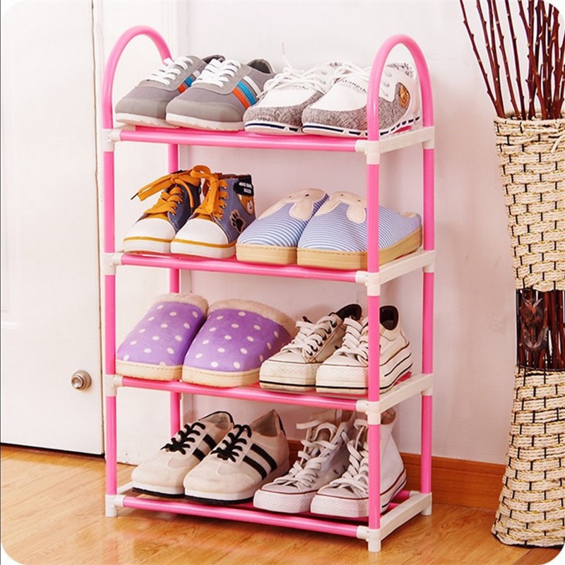 4 layers Shoe Rack Plastic parts Pipe Shoes Shelf Easy Assembled ...