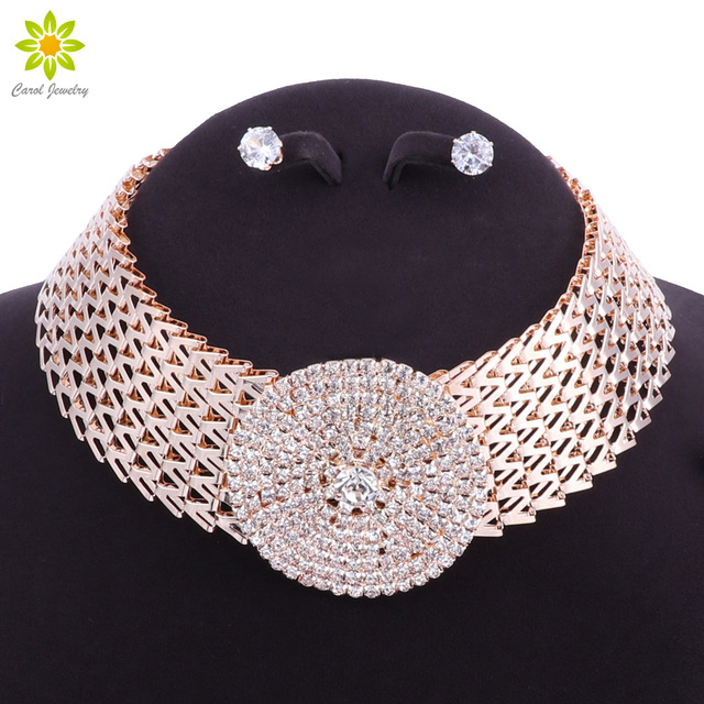 Crystal Bridal Jewelry Sets Gold Color Rhinestone Necklace Wedding Engagement Je