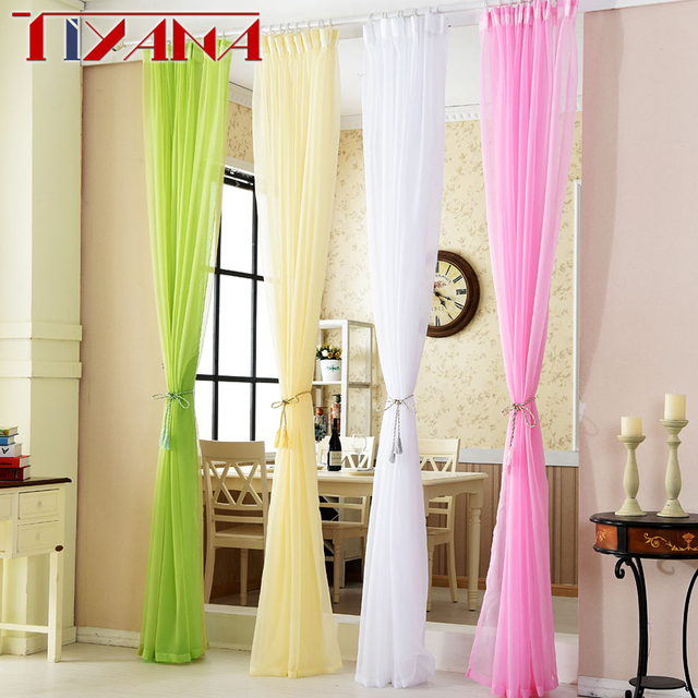 Colorful Solid Color Tulle Curtains Living Room Bedroom Balcony ...