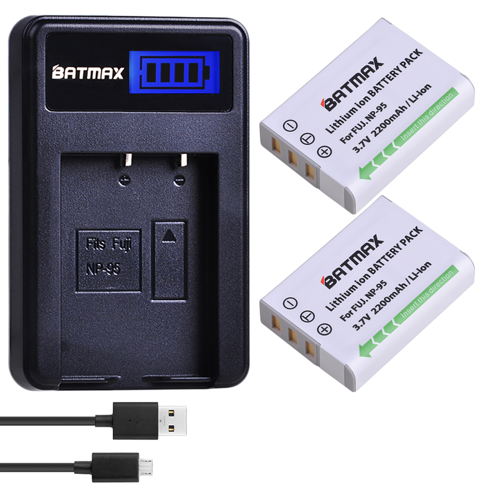 2Pc 2200MaH NP-95 NP 95 NP95 Battery + LCD USB Charger For FUJIFILM NP-95 F30 F31 F30fd F31fd 3D W1 X100T X100S X100 X-S1 3DW1