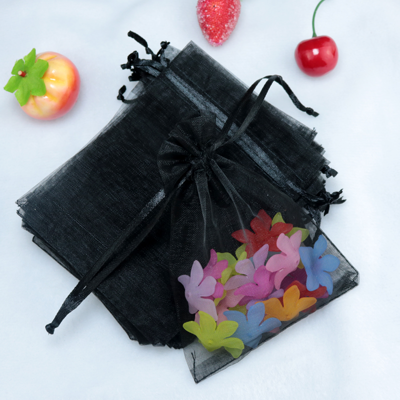 100pcs/lot Wholesale Organza Bags 7x9cm Black Wedding Pouches Jewelry Packaging Bags Nice Gift Packaging Storage Bag