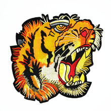1PCS Large Cartoon Tiger Head Fabric parches Embroidery Sew On Patches For Clothing DIY Craft Decoration Sticker Applique Badge 1pc landscape embroidered patches for clothing sew on tree embroidery parches for backpack clothing applique decoration badge