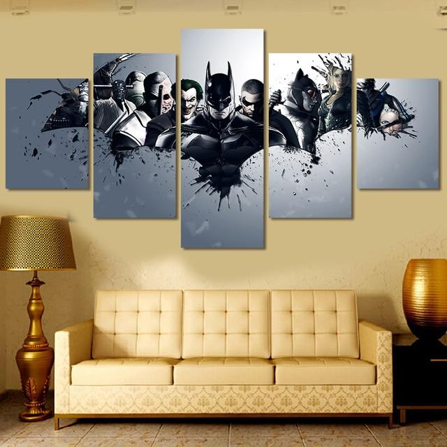 5 Piece Canvas Painting Movie Painting Batman Poster HD Oil Paint ...