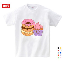цена на Girls Clothes for Summer T-shirt 3-12 Years O-Neck Short White T Shirt Donuts with Ice Cream Cartoon Graphic Girls T-shirt Kids