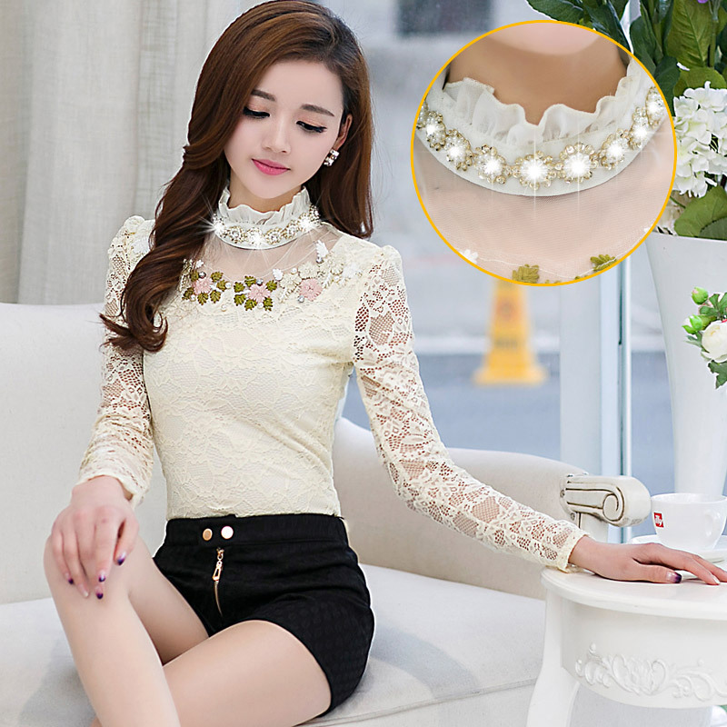 New Women Hollowed Blouse Female Embroidered Drilling Tops Lady Long Sleeved Shirt Plus Size 3XL Spring Autumn