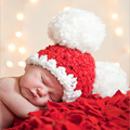 2017 Baby Christmas Cap Newborn Infant Handmade Photography Prop Hot Sale 0-6M Girls Boys Beanie Crochet Hat Knitted Santa Hat