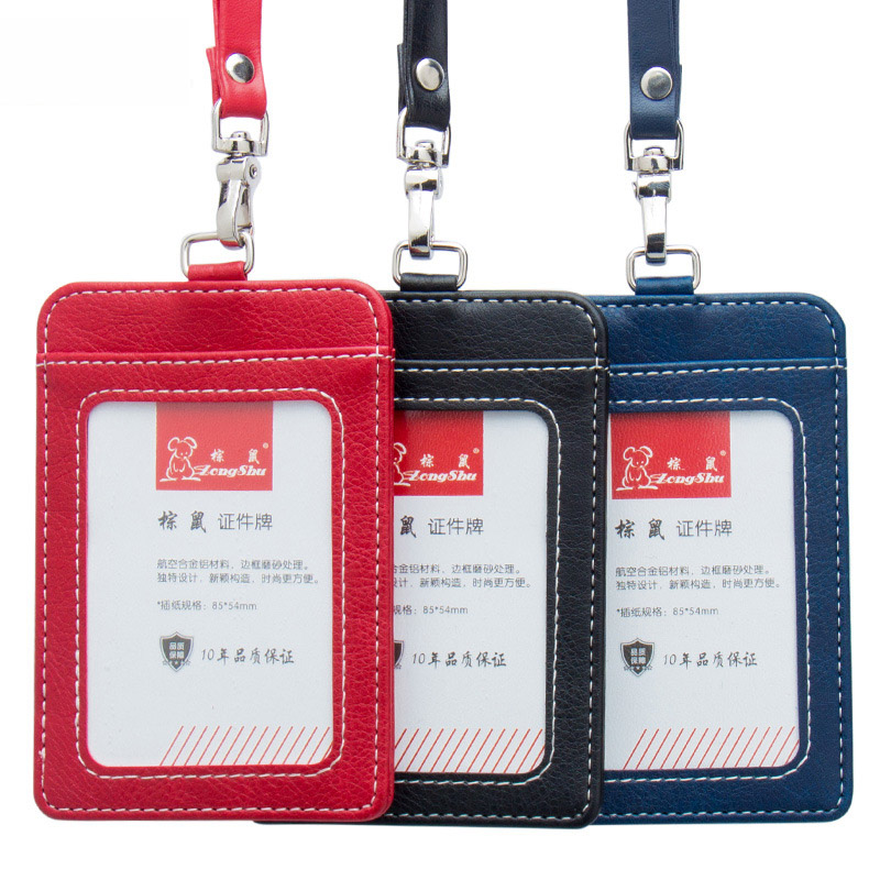 New Arrival PU Leather Id Card Badge Holder With Lanyard RFID Blocking Card Cover For Chest Card Work Pass Student Card Holder