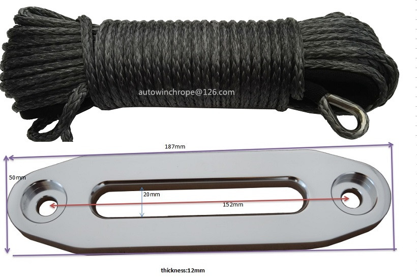 Grey 6mm*30m Synthetic Winch Rope add 4500lbs Hawse Fairlead,Off Road Rope,Boat Winch Rope,Replacement Winch Cable