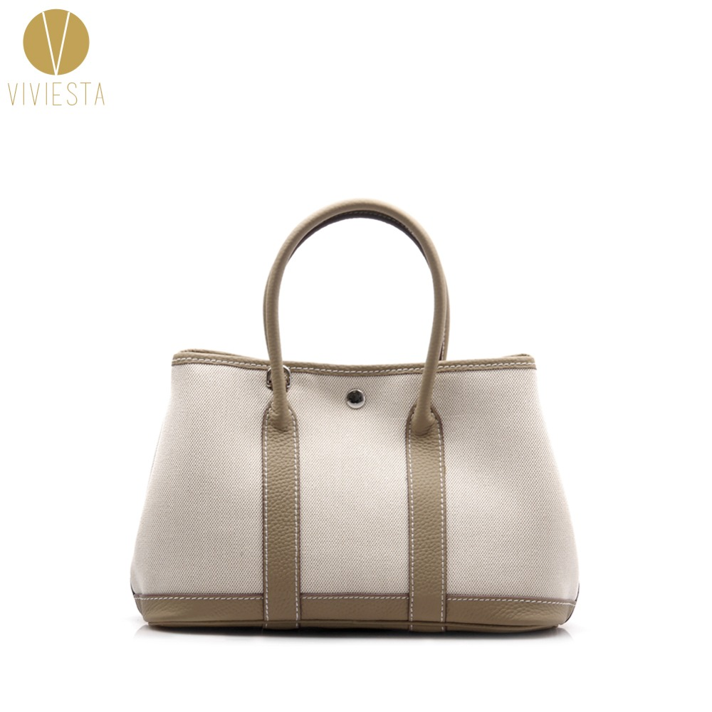 GENUINE LEATHER CANVAS GARDEN PARTY TOTE - Women Famous Fashion Brand Casual Daily Top Handle Shopping Shoulder Bag Handbag 30cm