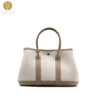 GENUINE LEATHER CANVAS GARDEN PARTY TOTE Women Famous Fashion Brand Casual Daily Top Handle Shopping Shoulder Bag Handbag 30cm