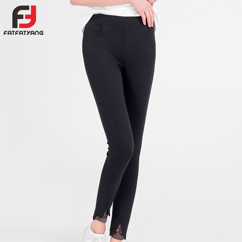 Ladies Side Pants Irregular Legs With Lace Elastic Black Leggings Skinny Pants High Waist Workwear Woman Pants Casual Trousers