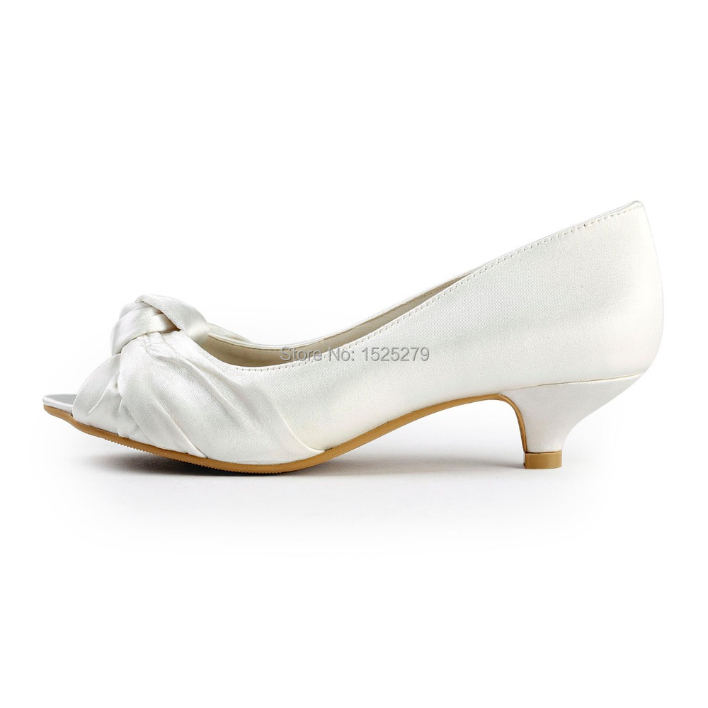 Mujeres 1 Partido 43 Ivory Marfil Cómodo 5 Tacones Satén Bombas Peep Zapatos Eu34 Blancas Bajos Nupcial Toe Boda ''fiesta Nudo white Señora Ep2045 5I0xqR11