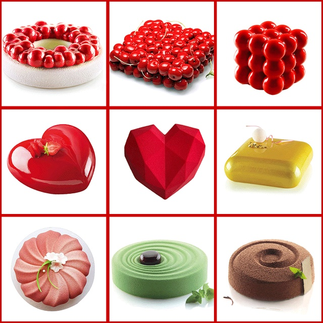 Wulekue Cake Decorating Mold 3D Silicone Molds Baking dish Tools For Heart Round Cakes Chocolate Brownie Mousse Make Dessert Pan