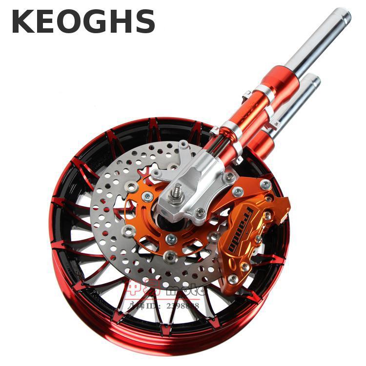 лучшая цена Keoghs Motorcycle Front Shock Absorber Fork And Brake System And Wheel Rim One Set For Yamaha Scooter Modify