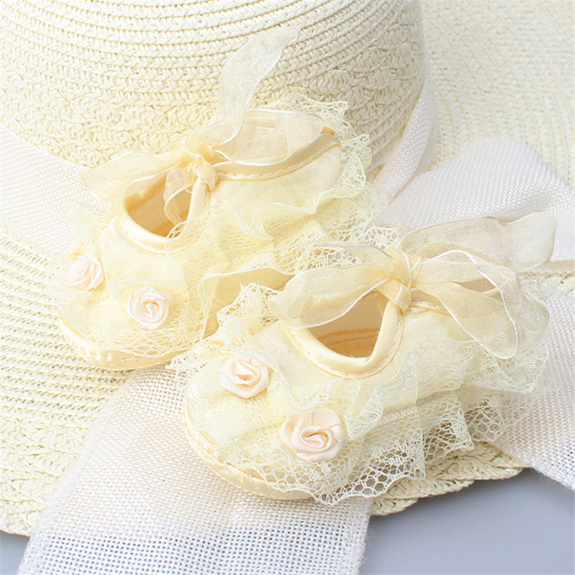 Newborn Baby Girl Shoes Princess Party Lace Floral Soft Sole Crib Shoes Anti-slip Sneaker Prewalker Toddler Kid 0-12M 2