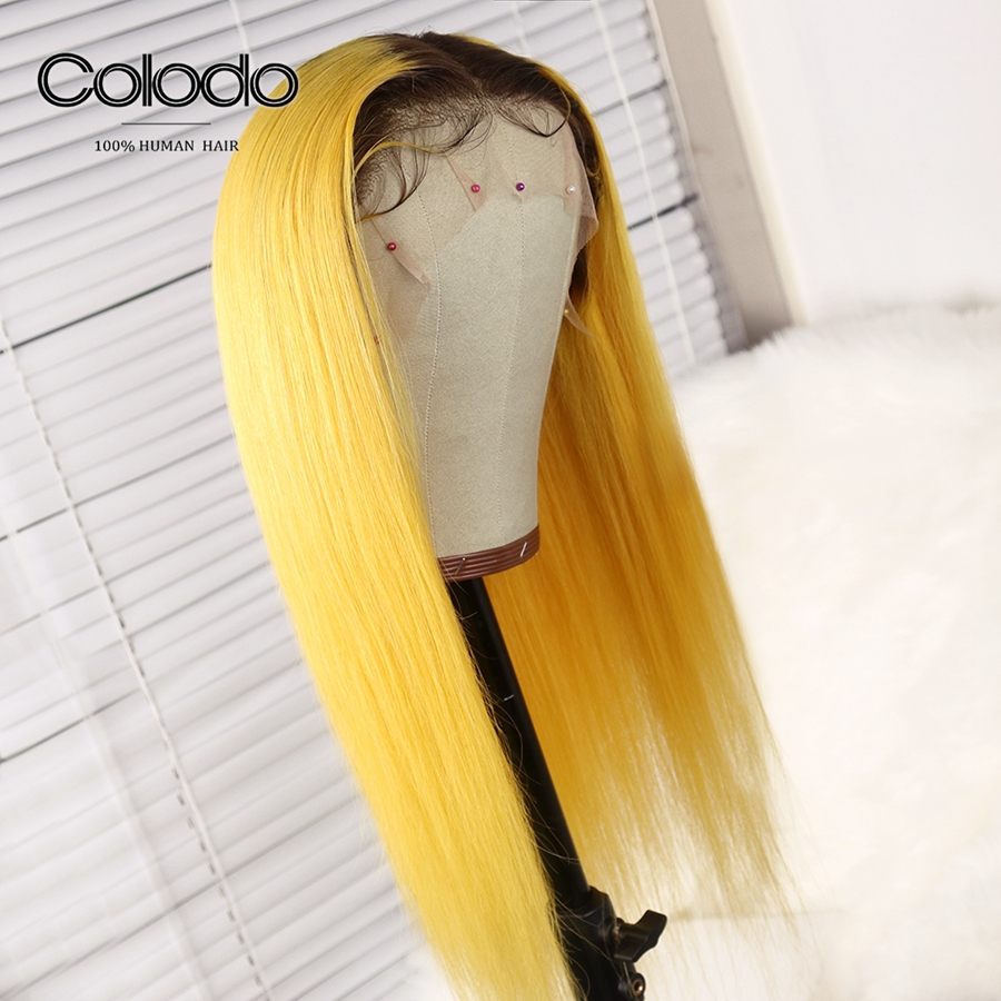 Adaptable Colodo Colored Yellow Human Hair Wigs With Preplucked Baby Hair 150%density Ombre Blonde Lace Front Wig Blue Brazilian Remy Hair With A Long Standing Reputation