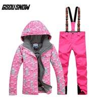 New GSOU SNOW Female Ski Suit Winter Warm Breathable Windproof Waterproof Wear resistant Ski Jacket+Ski Pants For Women