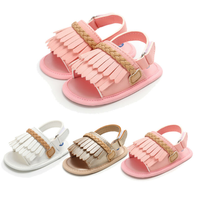 2019 Fashion Infant Baby Girl PU Sandals Soft Flat Sole Toddler Summer Shoes Baby Girl Tassels Sandals 1Pairs For 0-18Months