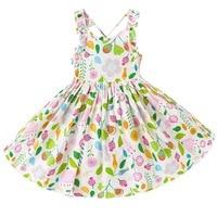 Baby Girls Dress Kids Cotton Vintage Floral Print Dress Girl Princess Vestido Children Clothing Girls Beach Backless Dresses